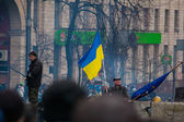 Kiev, Ukraine. Feb 22, 2014. Strike on the Independence square in Kiev. Meeting on the Maidan Nezalezhnosti in Kyiv. — Stockfoto