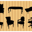 Seats silhouettes — Stock Vector