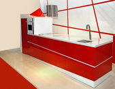 Czerwona kuchnia — Zdjęcie stockowe