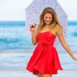 Beautiful Woman Walking on Tropical Beach - Foto de Stock