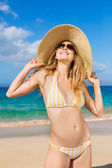 Beautiful Woman on Tropical Beach — Stock Photo