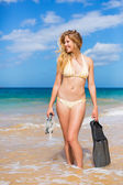 Beautiful Woman with Snorkel Gear at the Beach — Stock Photo