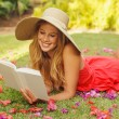 Young Woman Reading Book Outside — Stock Photo #14319821