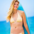 Woman with Surfboard at the Beach — Stock Photo
