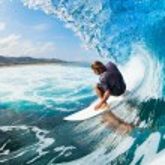 Surfer on Blue Ocean Wave — Stock Photo #14320863