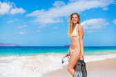 Beautiful Woman with Snorkel Gear at the Beach — Photo