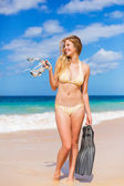 Beautiful Woman with Snorkel Gear at the Beach — Stok fotoğraf