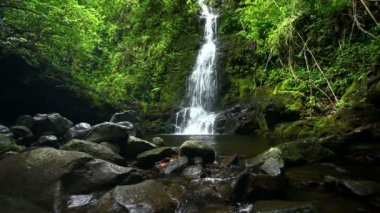 A beautiful waterfall with three cascading streams and lush greenery between the rocks