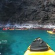 Ocean Kayaking through Cave Hawai - Stock Photo
