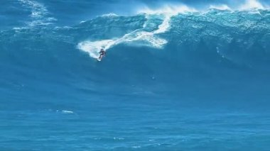 Professional surfer rides a large wave — Stockvideo