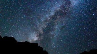 Night Sky, Bright Stars and Milky Way Galaxy — Stock Video