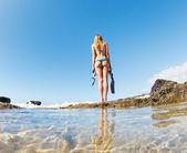 Beautiful Sexy Female Snorkeler — Stockfoto