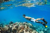 Snorkeling Underwater — Stock Photo