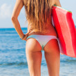 Young Bbeautiful in Bikini at the Beach with Boogie Board — Stock Photo #21104609