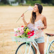Beautiful Girl on Bike — Stock Photo