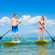 Stock Photo: Couple Stand Up Paddling in Hawaii