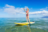 Woman on Stand Up Paddle Board — Stock Photo