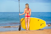 Woman with Stand Up Paddle Board — Stock Photo