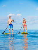 Couple Stand Up Paddling in Hawaii — Stock Photo