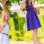 Girls Playing on Swing — Stock Photo