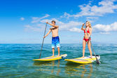 Couple on Stand Up Paddle Board — Stock Photo