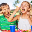 Happy Kids at Birthday Party — Stock Photo