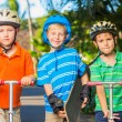 Kids with Skate Boards and Scooters — Stock Photo