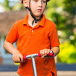 Boy with Scooter — Stockfoto