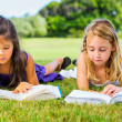 Little Girls Reading Books on Grass — Stock Photo