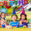 Kids at Birthday Party — Stock Photo