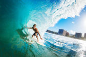 Surfer Gettting Barreled — Stock Photo
