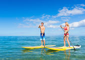 Couple Stand Up Paddle Surfing In Hawaii — Stock Photo