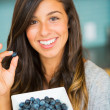 Woman With Bowl of Blueberries — Stock Photo
