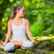 Beautiful Young Woman in Lotus Position — Stock Photo #33253947