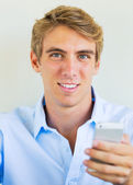 Man using smart phone, Texting — Stock Photo