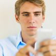 Young Professional, Handsome Man Using Smart Mobile Phone — Stock Photo