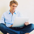 Professional Young Man Working on Laptop Computer — Stock Photo