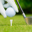 Close up view of golf ball on tee on golf course — Stock Photo #34814019
