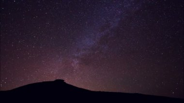 Stars, Beautiful Night Sky Above Mountain Top, Time Lapse — Stock Video