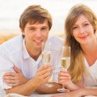 Honeymoon concept, Mand Womin love, Enjoying glass of cham — Zdjęcie stockowe #36704619