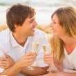 Honeymoon concept, Man and Woman in love, Enjoying glass of cham — Stock Photo #36704677