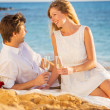 Honeymoon concept, Man and Woman in love, Couple enjoying glass — Stock Photo