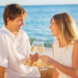 Honeymoon concept, Man and Woman in love, Couple enjoying glass — Stock Photo
