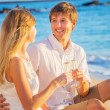 Honeymoon concept, Mand Womin love, Couple enjoying glass — Foto Stock #36708603