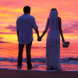 Bride and Groom, Enjoying Amazing Sunset on a Beautiful Tropical — Stock Photo #37457517