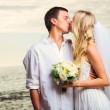 Bride and Groom, Romantic Newly Married Couple Kissing at the Be — Stock Photo #37459931