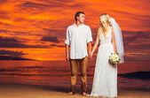Bride and Groom, Enjoying Amazing Sunset on a Beautiful Tropical — Stock Photo