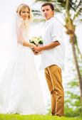 Bride and Groom, Romantic Newly Married Couple Holding Hands, Ju — Stock Photo