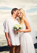 Bride and Groom, Romantic Newly Married Couple on the Beach, Jus — Stock Photo