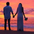 Just married couple holding hands on the beach at sunset — Stock Photo